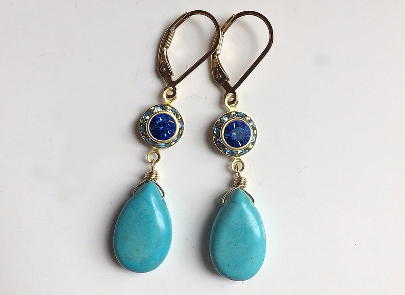 Turquoise Earrings dangle Leverback earrings Vintage Crystal Dangles gemstone dangle earrings