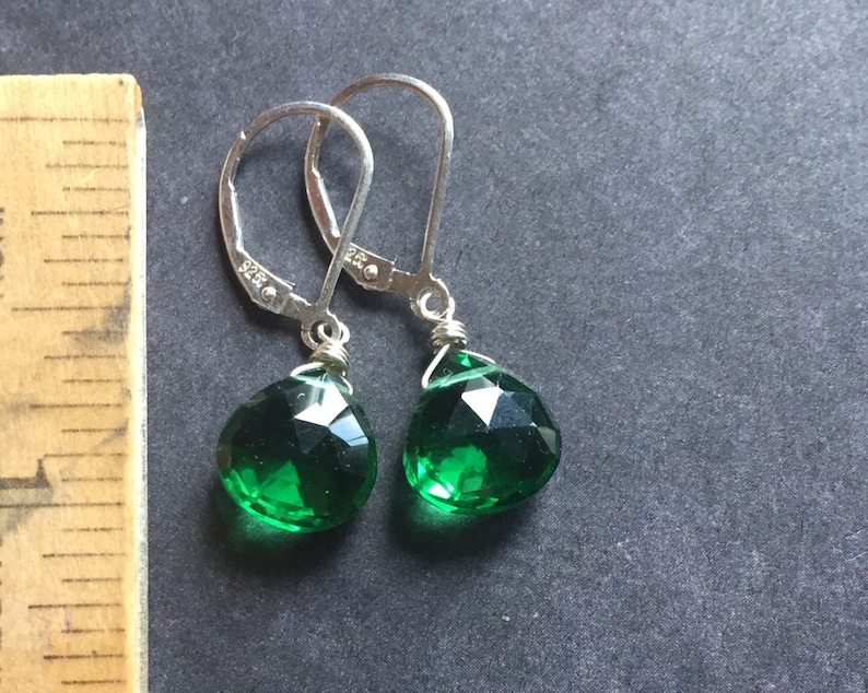 Ships from NY Metal choices leverback or French earwires Just Perfect Emerald Green Earrings