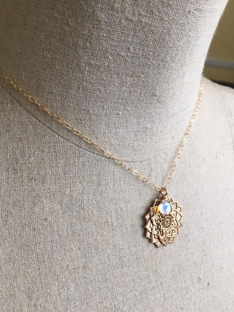 Golden Mandala Necklace with Seafoam Fire Opal