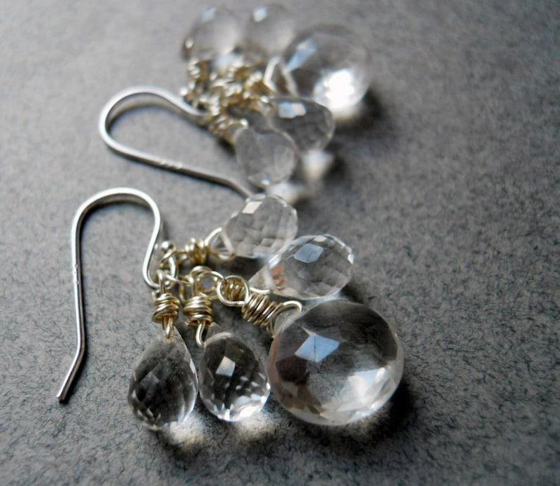 gemstone earrings sparkly earrings Leverback clear earrings Rock Crystal quartz Icicle Earrings leverback earrings teardrop