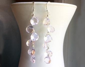 Pink Morganite Quartz Cascade dangle earrings, pink gemstone earrings, pale pink earrings, pink colored quartz