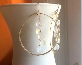 "Hammered Handmade Rainbow Moonstone Hoop Earrings in 14K Gold Filled, 2"", style Deborah, 14k Rose Gold Filled, Sterling Silver, choices"