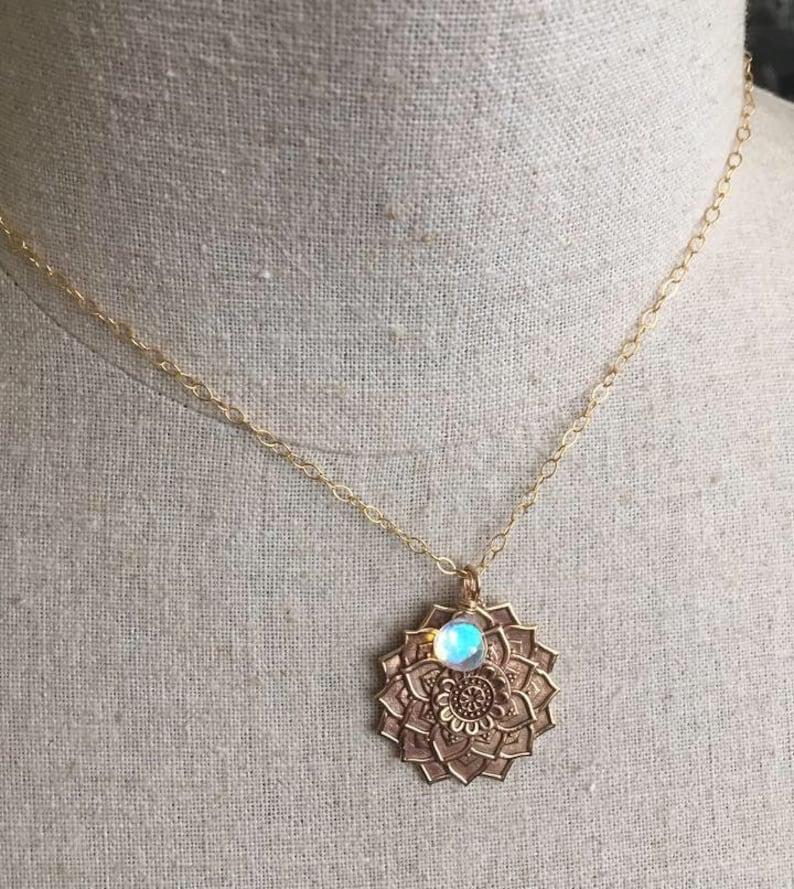 Mandala Necklace with Seafoam Fire Opal