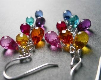 Rainbow earrings, Multi color quartz teardrop earrings, Goody Goody Gumdrops, gemstone earring, SEE VIDEO, multicolor earring, Gift Idea