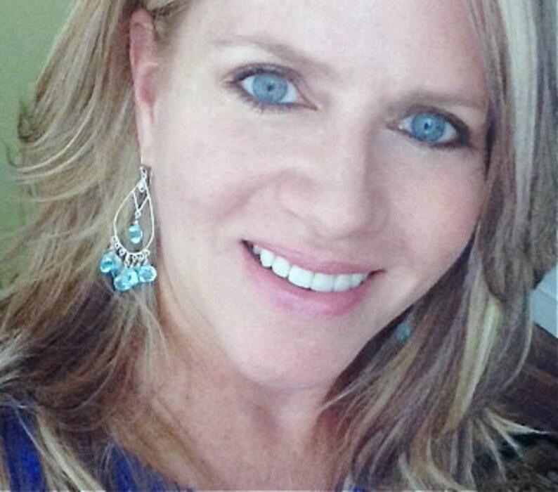 Angel Kiss Chandelier Earrings with Aquamarine Quartz Aquamarine Blue Chandeliers Blue Chandeliers