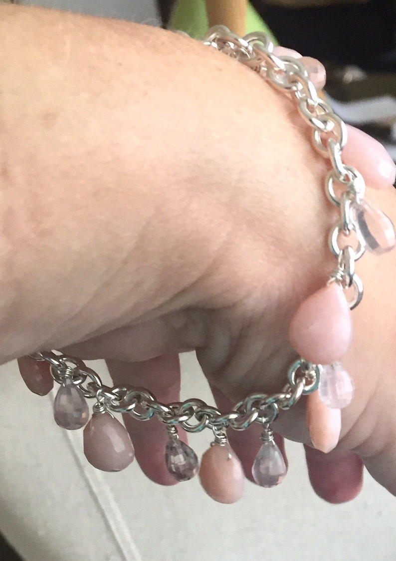 Gemstone bracelet Blushing Bracelet Blush Pink Opal and Rose Quartz Bracelet