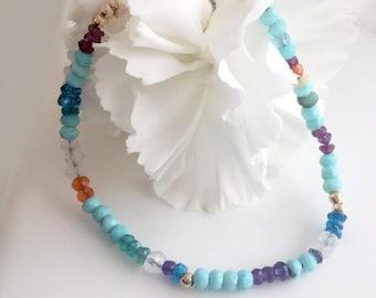 Multi Gemstone Bracelet, Peruvian Opal, amethyst, garnet, welo opal, green onyx, Chase Your Dreams Bracelet