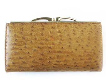 Vintage Ostrich Grain Hide Wallet in Natural Tan / Change Purse / Sleek and Elegant Organizer Clutch Style Wallet / Brown Wallet