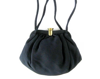 1950s Vintage Black Handbag / Small Evening Bag with Change Purse / Black Cloth Purse with Gold-tone Clasp / Rockabilly Style / Black Pouch