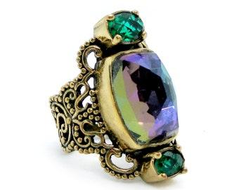 Designer Sajen White Druzy Quartz Stone Bezel Set Open Work Band Sterling Silver Ring Fine Jewelry Vintage on Etsy