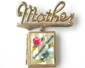 Mother Locket Brooch Mother Brag Book Canada Souvenir Shower Gift Costume Jewelry