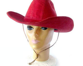 Vintage LEVI Strauss RED Corduroy   Cowboy Hat   Western Wear   Rodeo  Fashion Hat   Ranch Wear   Equestrian Style   Size 7.5 3e284766869