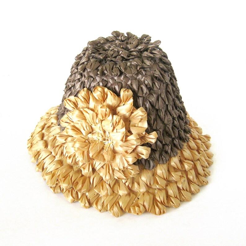 9ffef886bed0f Vintage Straw SUN Hat Raffia Hat   Tiki Oasis Hat    50s