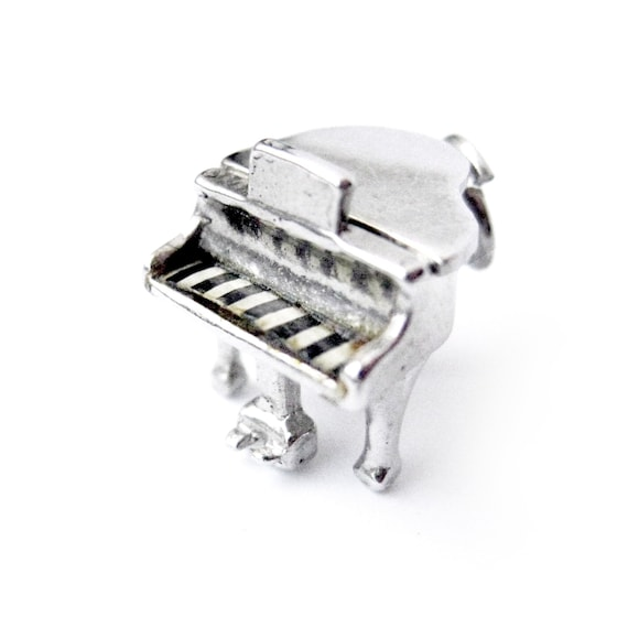 Sterling Silver Piano Charm with Moving Parts, Gif