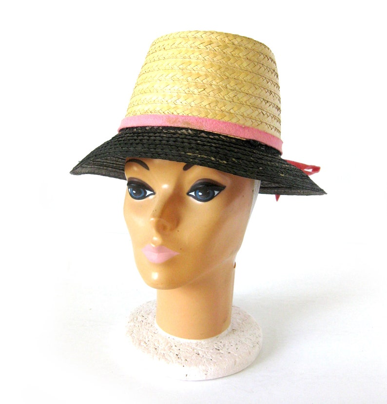 8454569ba12a9 Vintage TIKI Hat   Straw SUN HAT with a Flower on Top