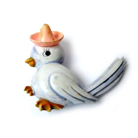 Vintage Celluloid Bird In Bombrero Brooch, Vintag… - image 2