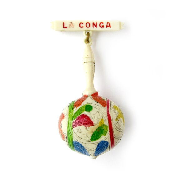 1940s Vintage La Conga, Maraca Dangle Brooch, Cel… - image 1