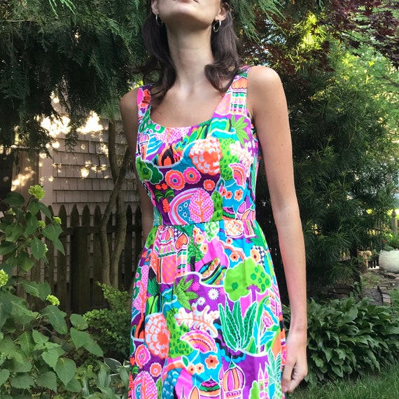 Vintage Lanz Originals Maxi Dress, Bright NEON Pri