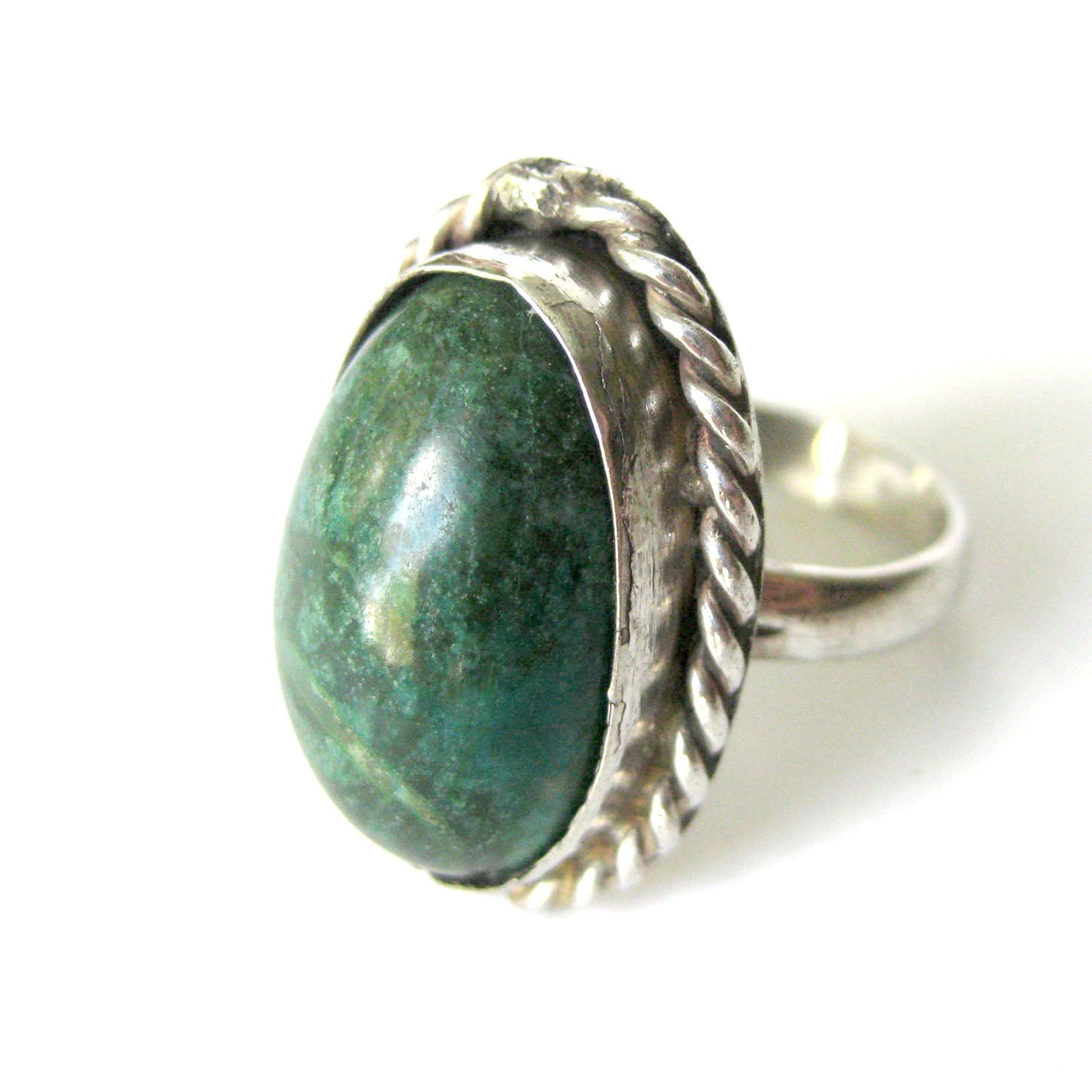 Vintage Sterling Silver Green Turquoise Floral Ring-Size 6-Gift for Her