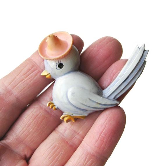 Vintage Celluloid Bird In Bombrero Brooch, Vintag… - image 3