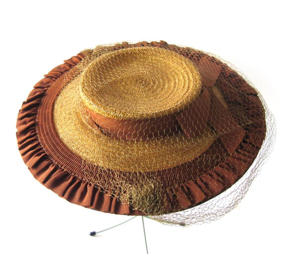 0279ac4538556 1940s Cartwheel Hat New Look Natural Straw and