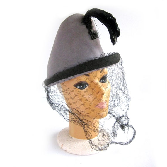 1930s Peaked Tyrollean Hat with Feather Plume, Til
