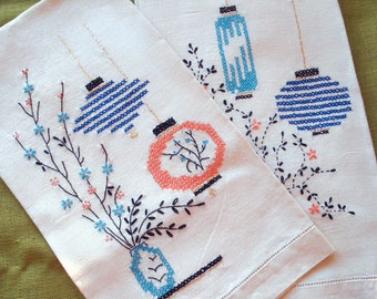 Vintage Pair of Asian Hand Embroidered Tea Towels - Japanese Lanterns - Linen Hand Towels