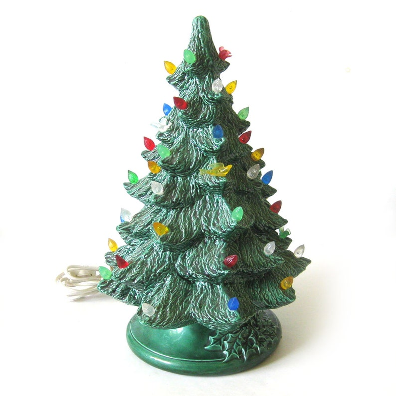 Vintage Lighted Ceramic Christmas Tree With Birds Retro Holiday Decor Ceramic Light Up Tree Green Tree With Holly Leaf Base 13 Inch Tree