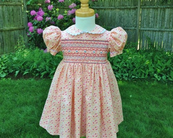 3335875531c Size 1T Hand smocked Toddler dress Girls floral dress Pink dress Handmade  Birthday gift Special occasion Party Dress Heirloom Birthday gift