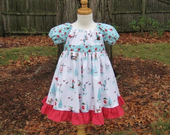 1f91727c2 Girls Christmas dress size 2T Red and aqua Ready to ship Whimsical Pixies &  animals Poinsettias Twirly peasant dress Toddler Handmade OOAK