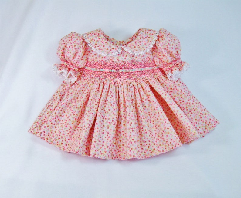 38aecc9e5e3f7 Pink and blue baby girl handsmocked dress ready to ship size 3