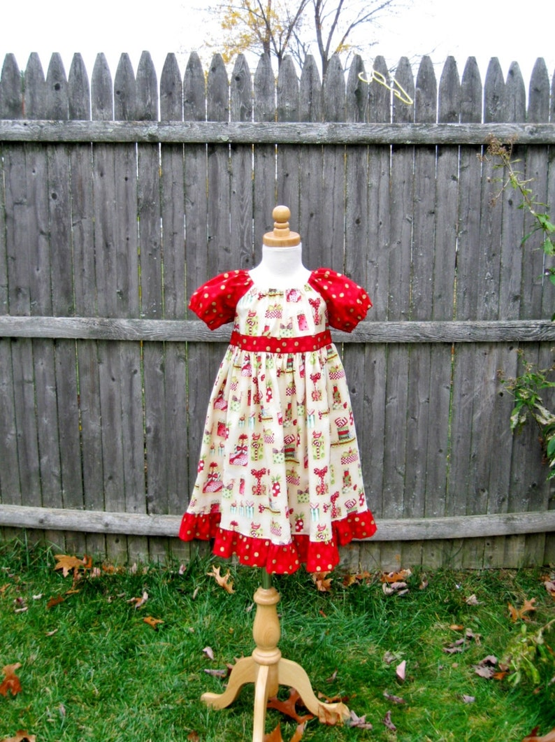 d3d911c72 Girls red and ivory Christmas dress Size 3/3T Peasant dress | Etsy