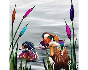 Ducks and Cattails  Print of Original  Illustration