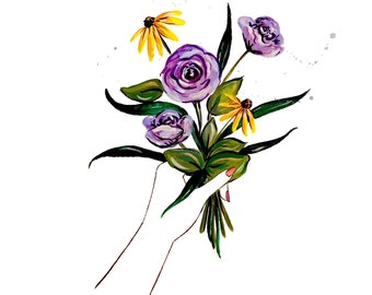 Mothers Day Collection Gift of Flowers  of Original Watercolor Illustration