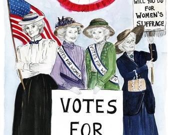 Golden Suffragette Print of Original Sketch