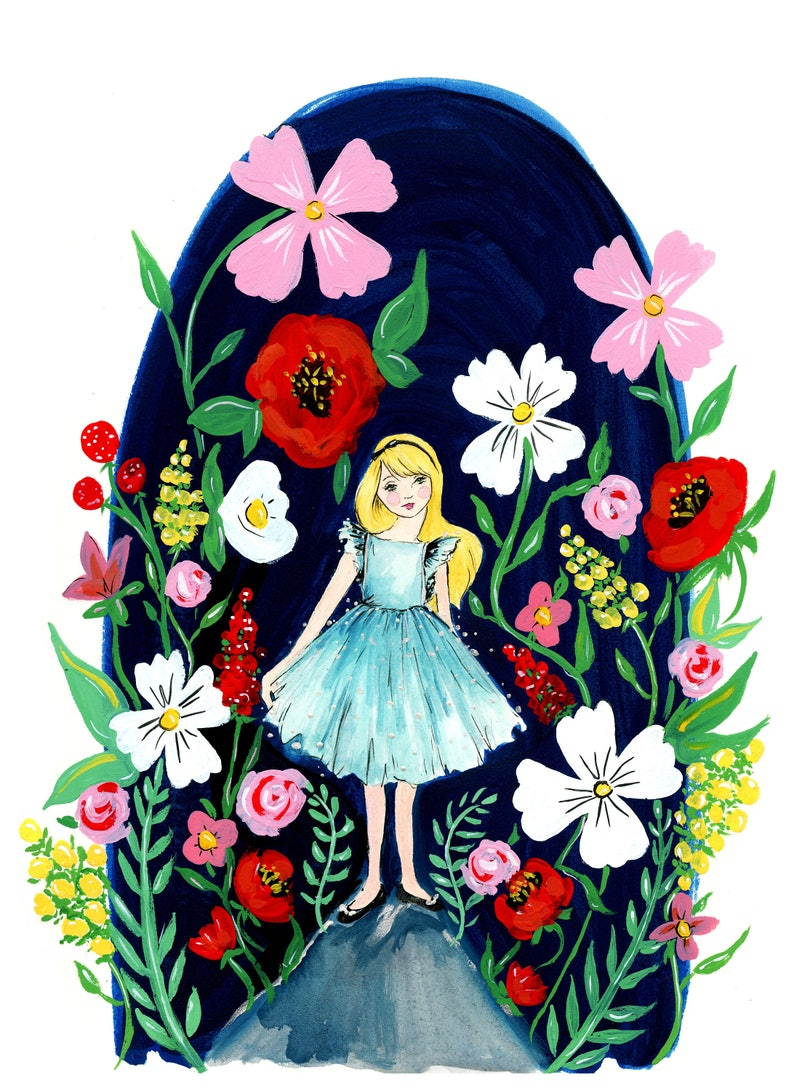 Among The Wildflowers Gouache Illustration PRINT image 0