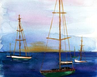 Newport Harbor at Sunset Print of Orginal Watercolor Painting