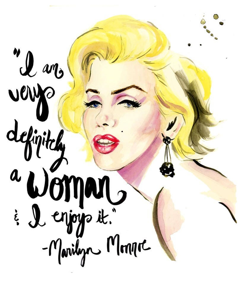 Marilyn Monroe Quote Print of Original Watercolor Fashion | Etsy