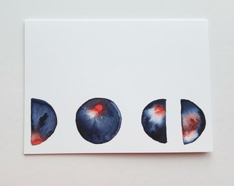 Moonphase Card Watercolor Card Full Moon Card Crescent Moon Card Blank Card 5x7 Card