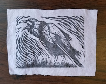 Punk Patch DIY Hand Printed Raven Patch