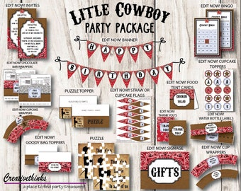 Little Cowboy - Printable Party Package - EDIT IMMEDIATELY - Instant Download