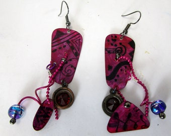 Rosy,  fuschia and purple handpainted metal shapes, glass, bead chain,  kinetic, sculptural, light and fun
