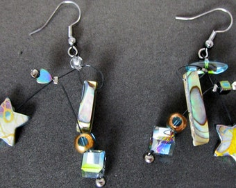 Liane, abalone, mobiles, stars, contemporary,  kinetic, sculptural, light and fun