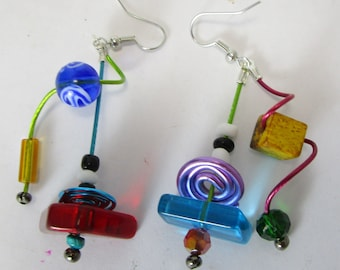Jolly  chunky glass, , red, blue, turquoise, yellow, spirals, unmatched,  kinetic, sculptural, light and fun