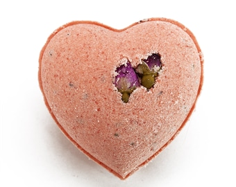 Heart Shaped Lavender and Rose Bath Bomb, All Natural Valentine's Gift