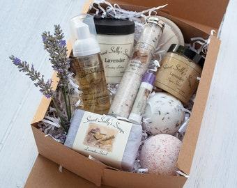 Lavender Self-Care Spa Gift Set, Lotion, Scrub, Soap, Bath Bombs