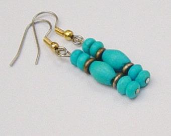 Blue Earrings Turquoise Earrings Blue and Brass Earrings Beach Earrings in Blue Turquoise