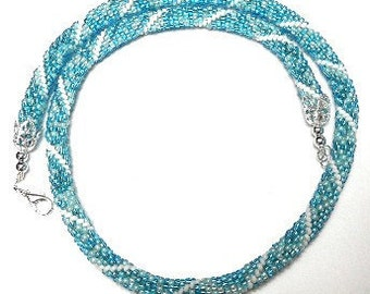 Bead Crochet Necklace in White and Bright Aqua Blue