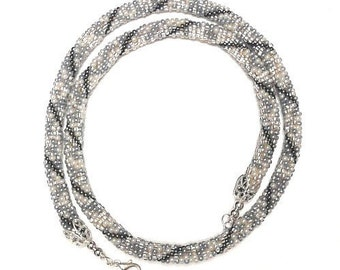 Bead Crochet Necklace in Black and White with Silver Tones