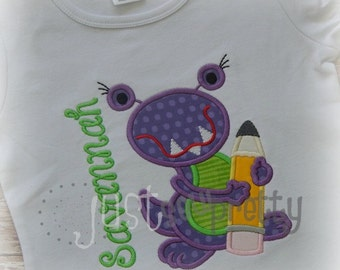 Girl School Monster Embroidery Applique Design
